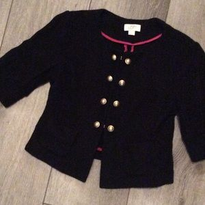 LOFT Black Wool Military Style Cropped Blazer